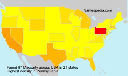 Surname Maccarty in USA