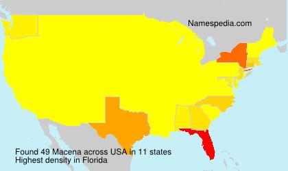 Familiennamen Macena - USA