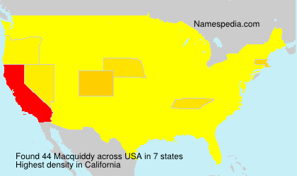 Surname Macquiddy in USA