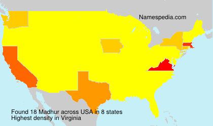 Familiennamen Madhur - USA