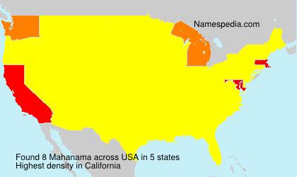 Familiennamen Mahanama - USA