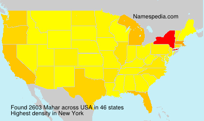 Surname Mahar in USA