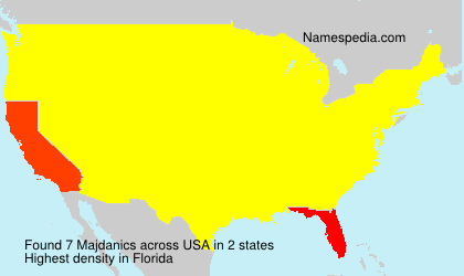Surname Majdanics in USA