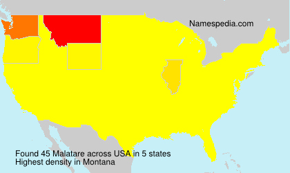 Surname Malatare in USA