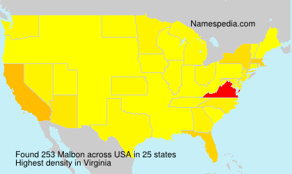 Surname Malbon in USA