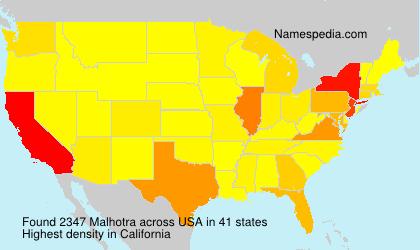 Familiennamen Malhotra - USA