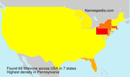 Surname Malvone in USA
