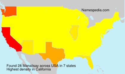 Familiennamen Manalisay - USA