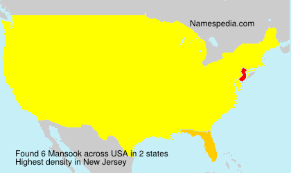 Surname Mansook in USA