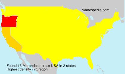 Familiennamen Marandas - USA