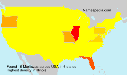 Surname Martiszus in USA