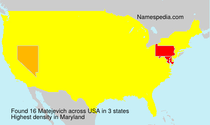 Surname Matejevich in USA