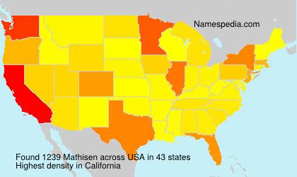 Surname Mathisen in USA