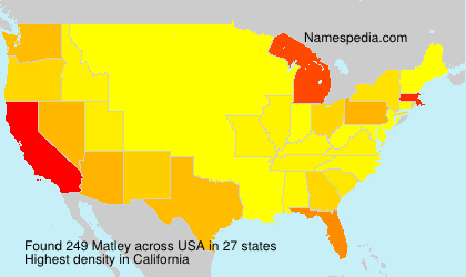 Surname Matley in USA