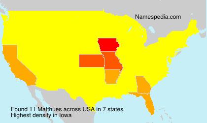 Familiennamen Matthues - USA