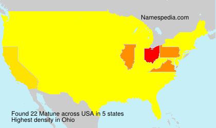 Familiennamen Matune - USA