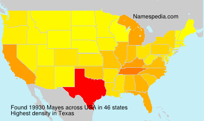 Surname Mayes in USA