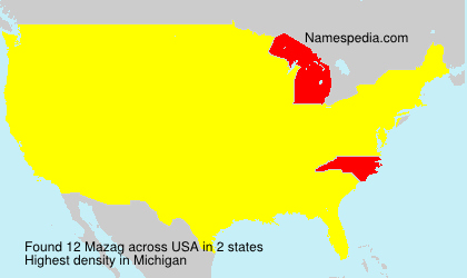 Surname Mazag in USA