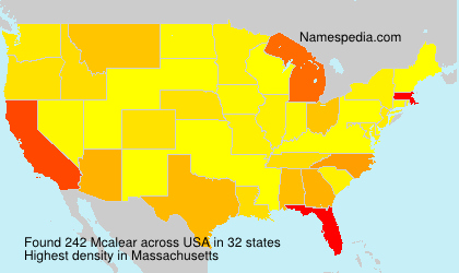 Surname Mcalear in USA