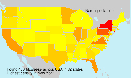 Surname Mcaleese in USA