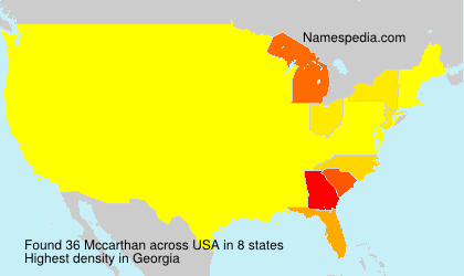 Surname Mccarthan in USA