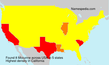 Surname Mccunne in USA