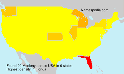 Surname Mceleny in USA