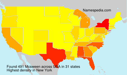 Surname Mcsween in USA