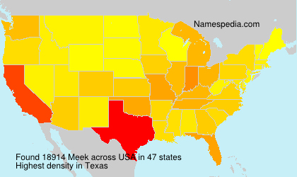 Surname Meek in USA