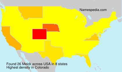Surname Meick in USA