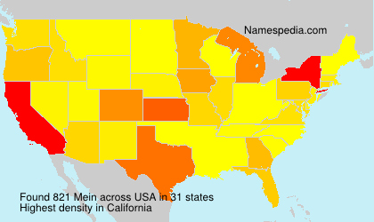 Surname Mein in USA