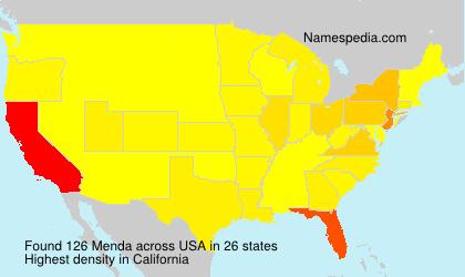 Surname Menda in USA