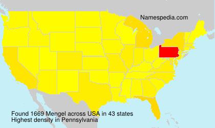Surname Mengel in USA