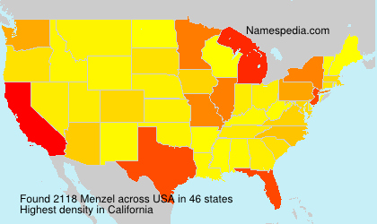 Surname Menzel in USA