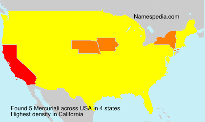 Surname Mercuriali in USA