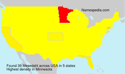Surname Mesedahl in USA