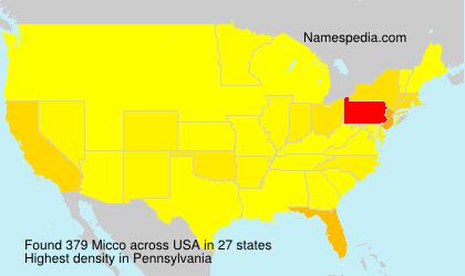 Familiennamen Micco - USA
