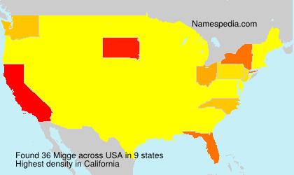 Familiennamen Migge - USA