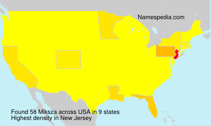 Surname Miksza in USA