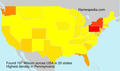 Surname Milsom in USA