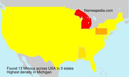 Familiennamen Minous - USA