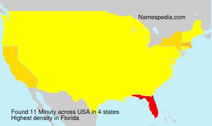 Familiennamen Minuty - USA