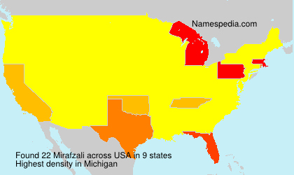 Surname Mirafzali in USA