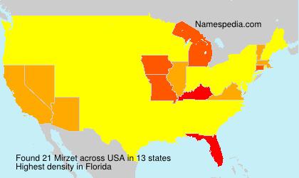 Familiennamen Mirzet - USA