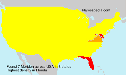 Surname Moridon in USA