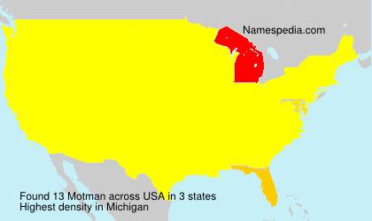 Surname Motman in USA