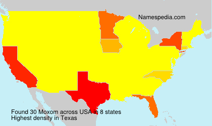 Surname Moxom in USA