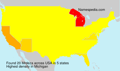 Surname Mrdeza in USA