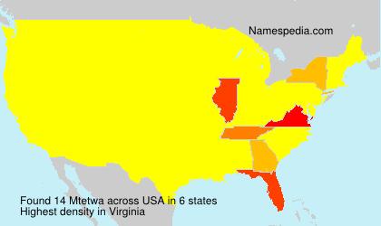 Surname Mtetwa in USA