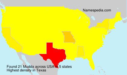 Surname Mudda in USA